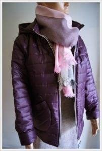 fioletowa kurtka damska pikowana